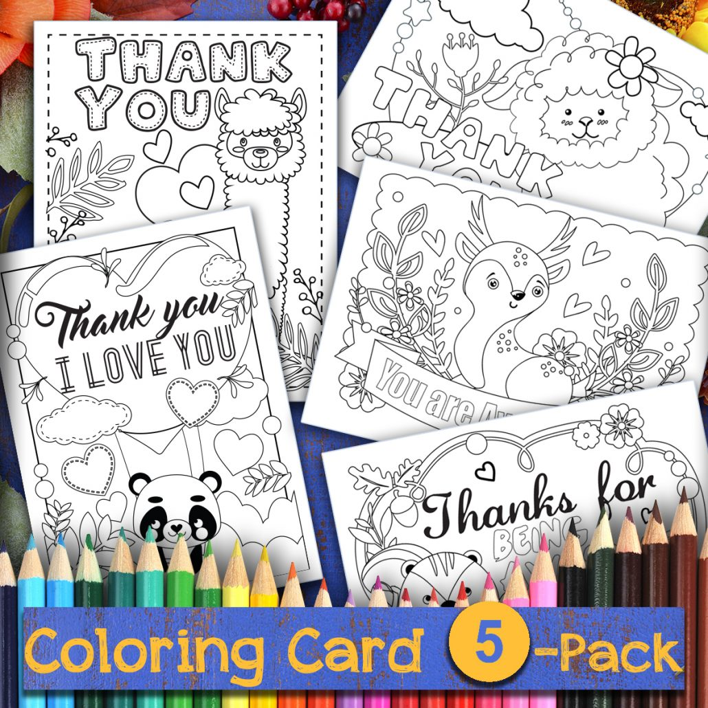 image relating to Printable Coloring Cards identified as Thanksgiving Coloring Printable Thank Oneself Playing cards - Thank Your self, Me
